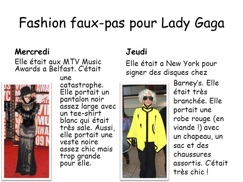 Fashion faux-pas pour Lady Gaga MercrediJeudi Elle était aux MTV Music Awards a Belfast.