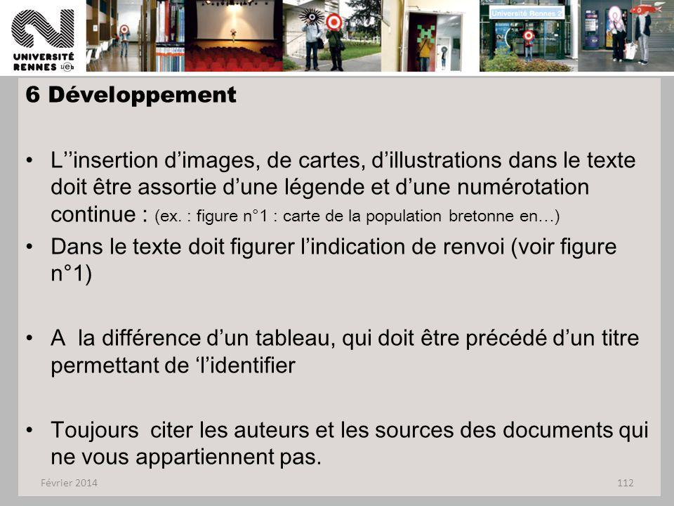 6 Développement L''insertion d'images, de cartes, d'illustrations dans le texte doit être assortie d'une légende et d'une numérotation continue : (ex.