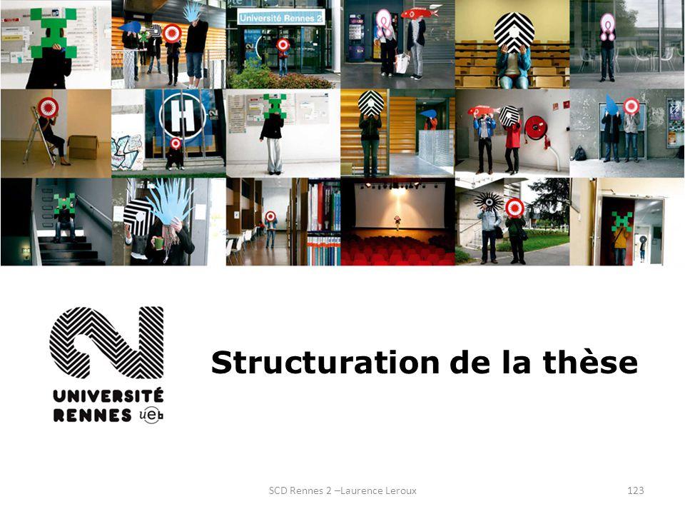SCD Rennes 2 –Laurence Leroux123 Structuration de la thèse