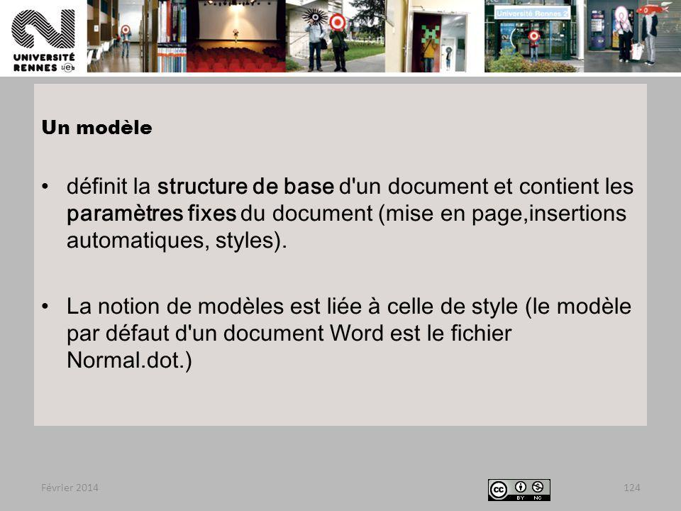 Février 2014124 Un modèle définit la structure de base d un document et contient les paramètres fixes du document (mise en page,insertions automatiques, styles).