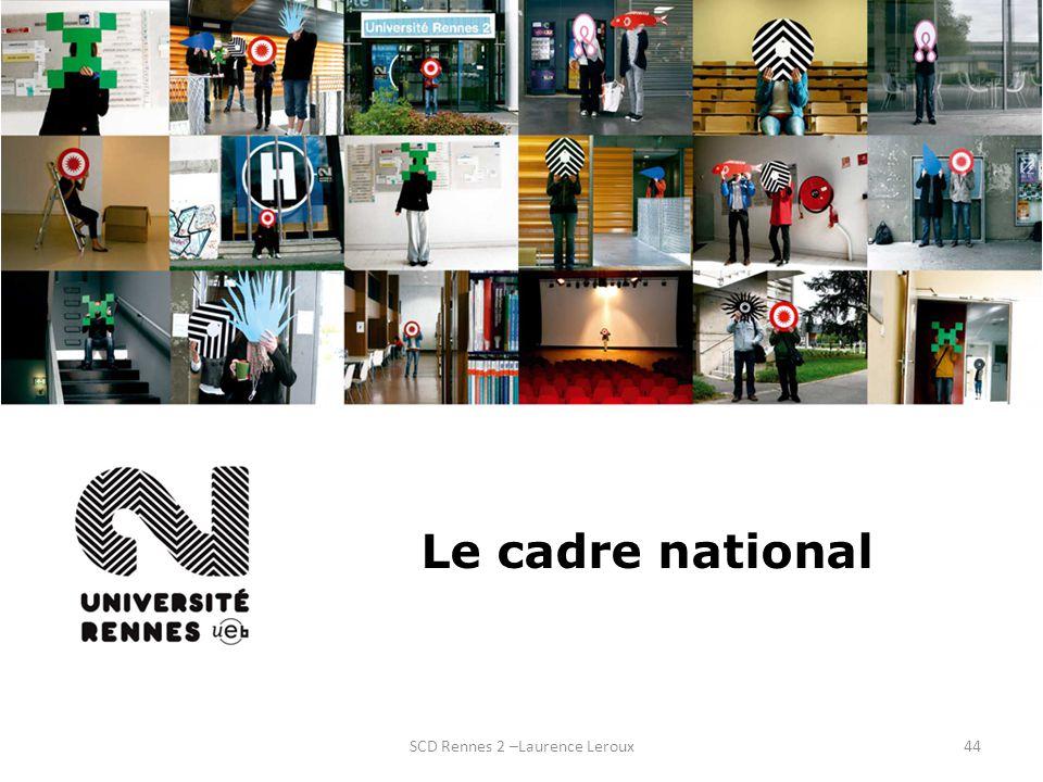 SCD Rennes 2 –Laurence Leroux44 Le cadre national