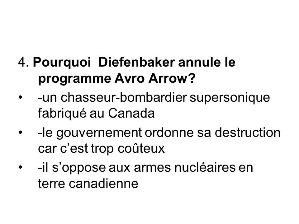 4. Pourquoi Diefenbaker annule le programme Avro Arrow? -un chasseur-bombardier supersonique fabriqué au Canada -le gouvernement ordonne sa destructio