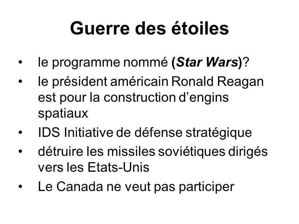 Guerre des étoiles le programme nommé (Star Wars)? le président américain Ronald Reagan est pour la construction d'engins spatiaux IDS Initiative de d