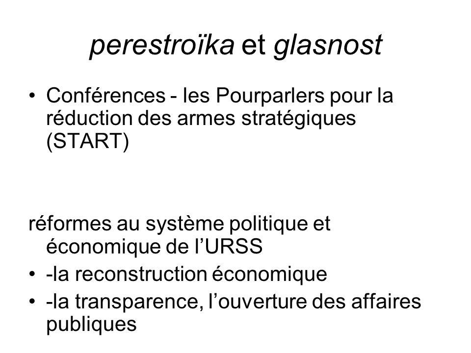 perestroïka et glasnost Conférences - les Pourparlers pour la réduction des armes stratégiques (START) réformes au système politique et économique de l'URSS -la reconstruction économique -la transparence, l'ouverture des affaires publiques