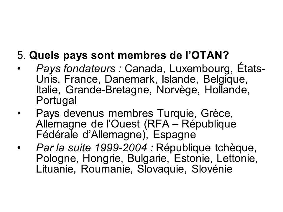 5. Quels pays sont membres de l'OTAN? Pays fondateurs : Canada, Luxembourg, États- Unis, France, Danemark, Islande, Belgique, Italie, Grande-Bretagne,