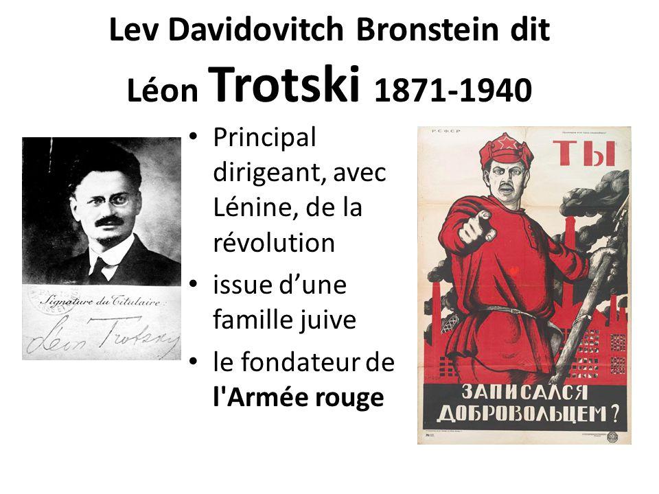 Lev Davidovitch Bronstein dit Léon Trotski 1871-1940 Principal dirigeant, avec Lénine, de la révolution issue d'une famille juive le fondateur de l Armée rouge