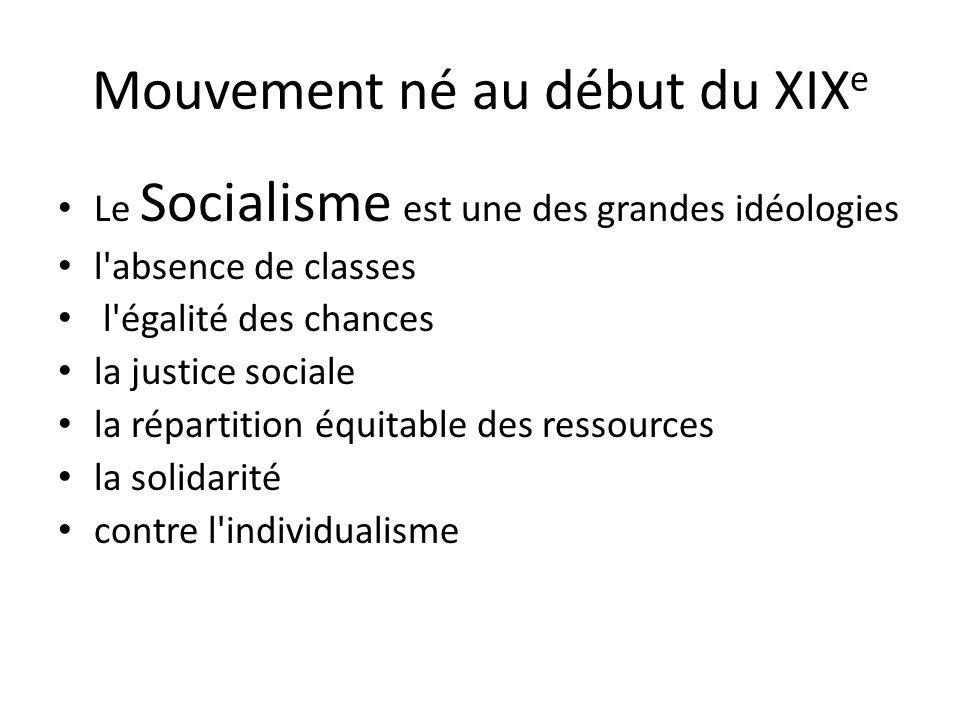Mouvement né au début du XIX e Le Socialisme est une des grandes idéologies l absence de classes l égalité des chances la justice sociale la répartition équitable des ressources la solidarité contre l individualisme