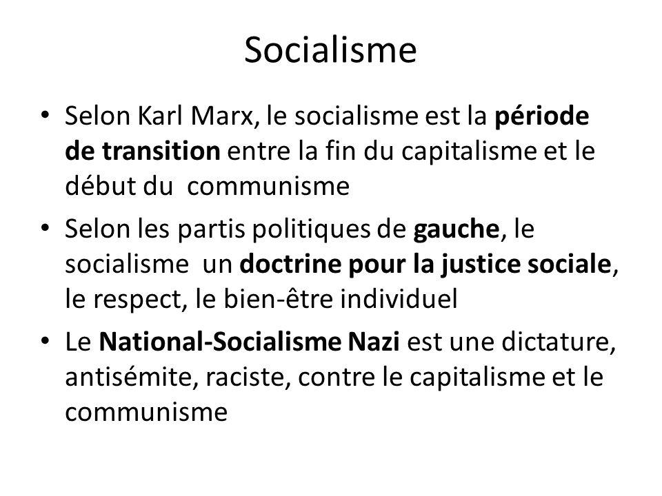 Socialisme Selon Karl Marx, le socialisme est la période de transition entre la fin du capitalisme et le début du communisme Selon les partis politiques de gauche, le socialisme un doctrine pour la justice sociale, le respect, le bien-être individuel Le National-Socialisme Nazi est une dictature, antisémite, raciste, contre le capitalisme et le communisme