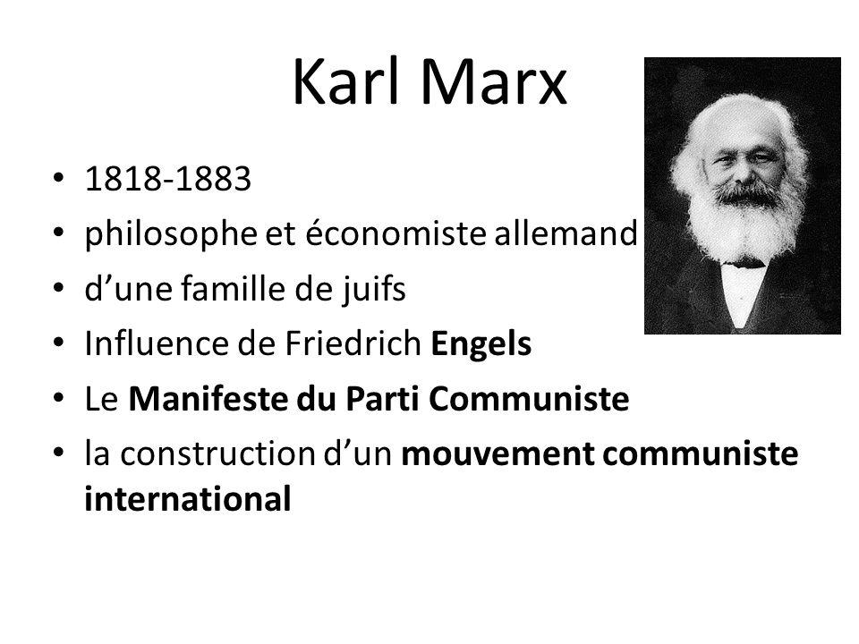 Karl Marx 1818-1883 philosophe et économiste allemand d'une famille de juifs Influence de Friedrich Engels Le Manifeste du Parti Communiste la construction d'un mouvement communiste international