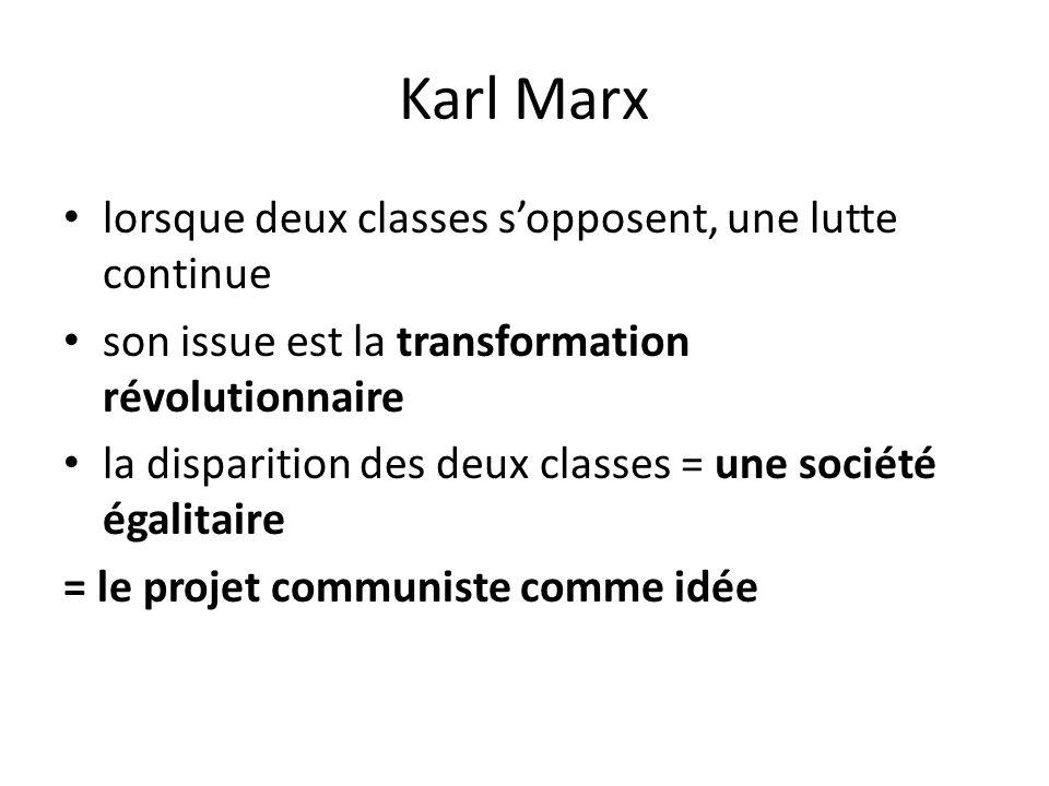 Karl Marx lorsque deux classes s'opposent, une lutte continue son issue est la transformation révolutionnaire la disparition des deux classes = une société égalitaire = le projet communiste comme idée