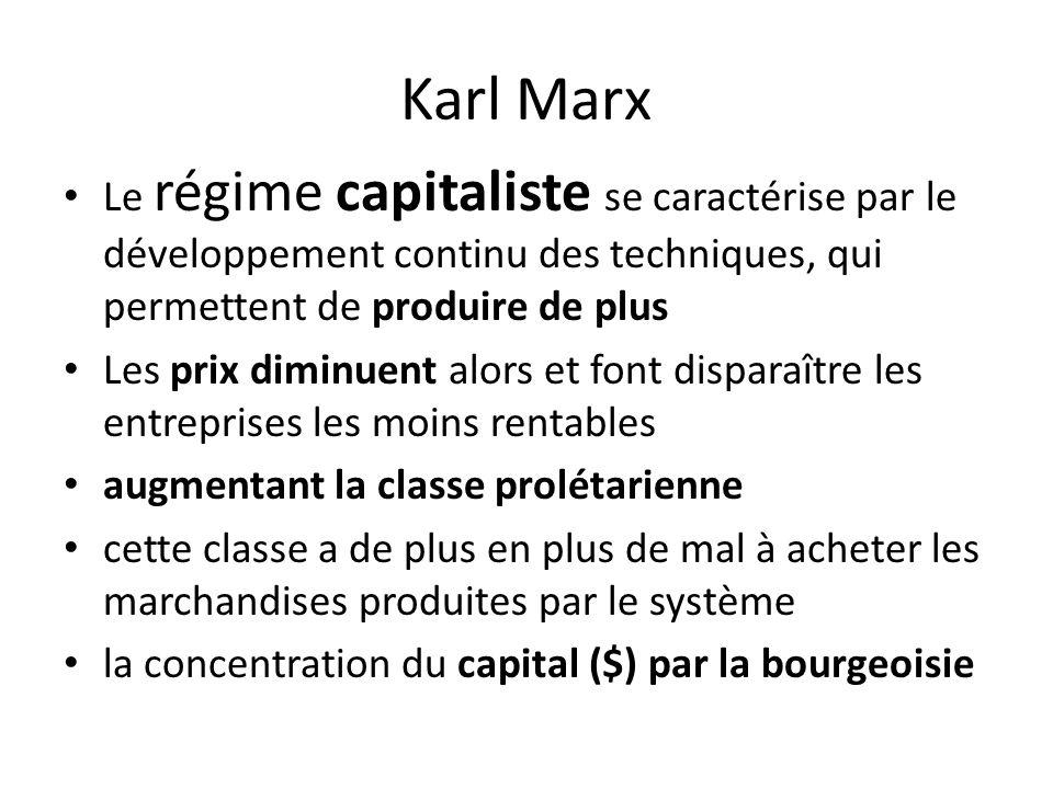 Karl Marx Le régime capitaliste se caractérise par le développement continu des techniques, qui permettent de produire de plus Les prix diminuent alors et font disparaître les entreprises les moins rentables augmentant la classe prolétarienne cette classe a de plus en plus de mal à acheter les marchandises produites par le système la concentration du capital ($) par la bourgeoisie