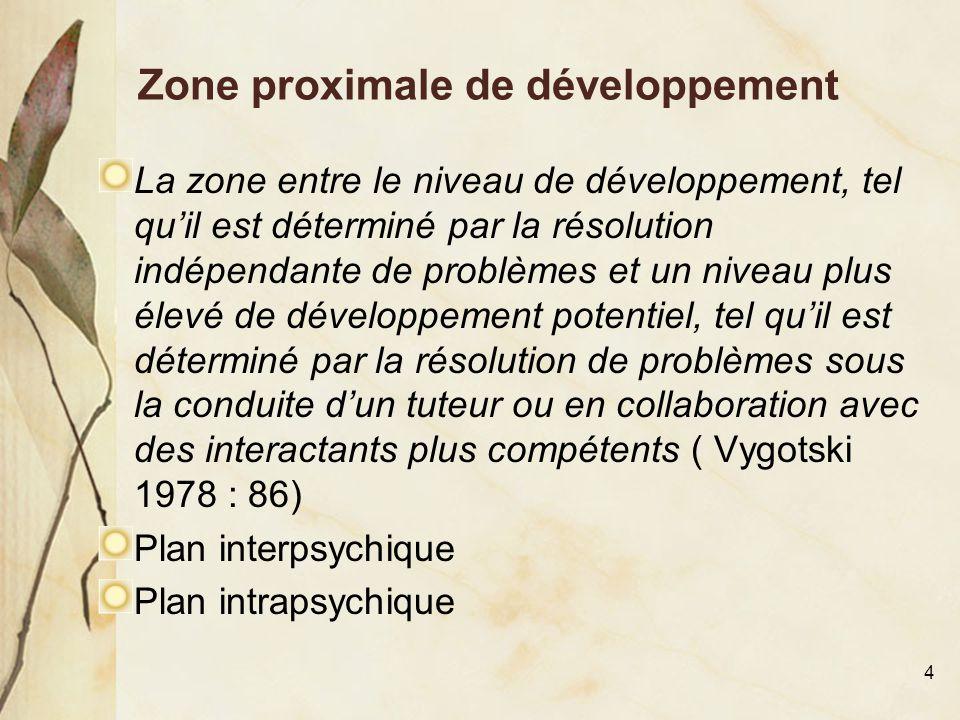 4 Zone proximale de développement La zone entre le niveau de développement, tel qu'il est déterminé par la résolution indépendante de problèmes et un