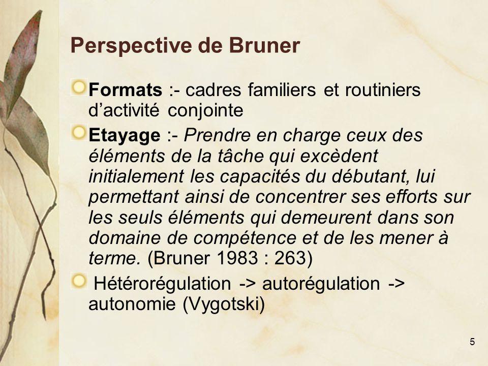 6 Perspective de Bruner (suite) L'acquisition du langage :- L'enfant appréhende d'abord les exigences posées par l'action conjointe à un niveau prélinguistique et apprend à différencier les éléments constituants de l'action jusqu'à ce qu'il arrive à substituer des éléments d'un lexique standard aux éléments non conventionnels.