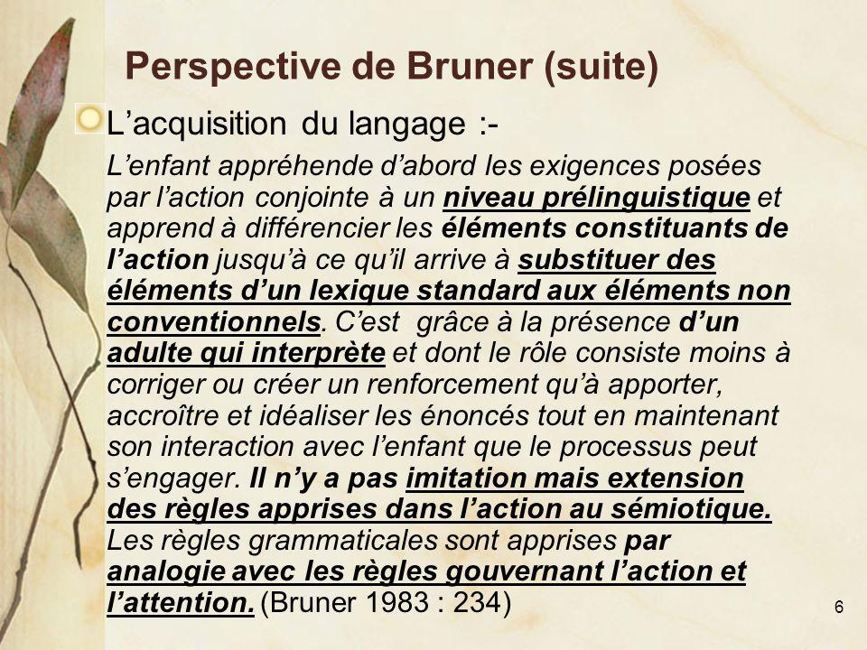 6 Perspective de Bruner (suite) L'acquisition du langage :- L'enfant appréhende d'abord les exigences posées par l'action conjointe à un niveau prélin