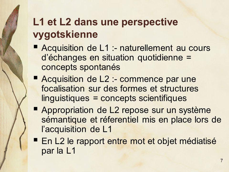 7 L1 et L2 dans une perspective vygotskienne  Acquisition de L1 :- naturellement au cours d'échanges en situation quotidienne = concepts spontanés 