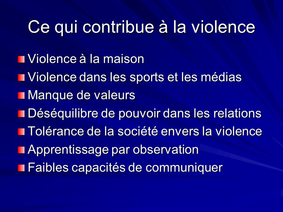 Ce qui contribue à la violence Violence à la maison Violence dans les sports et les médias Manque de valeurs Déséquilibre de pouvoir dans les relation