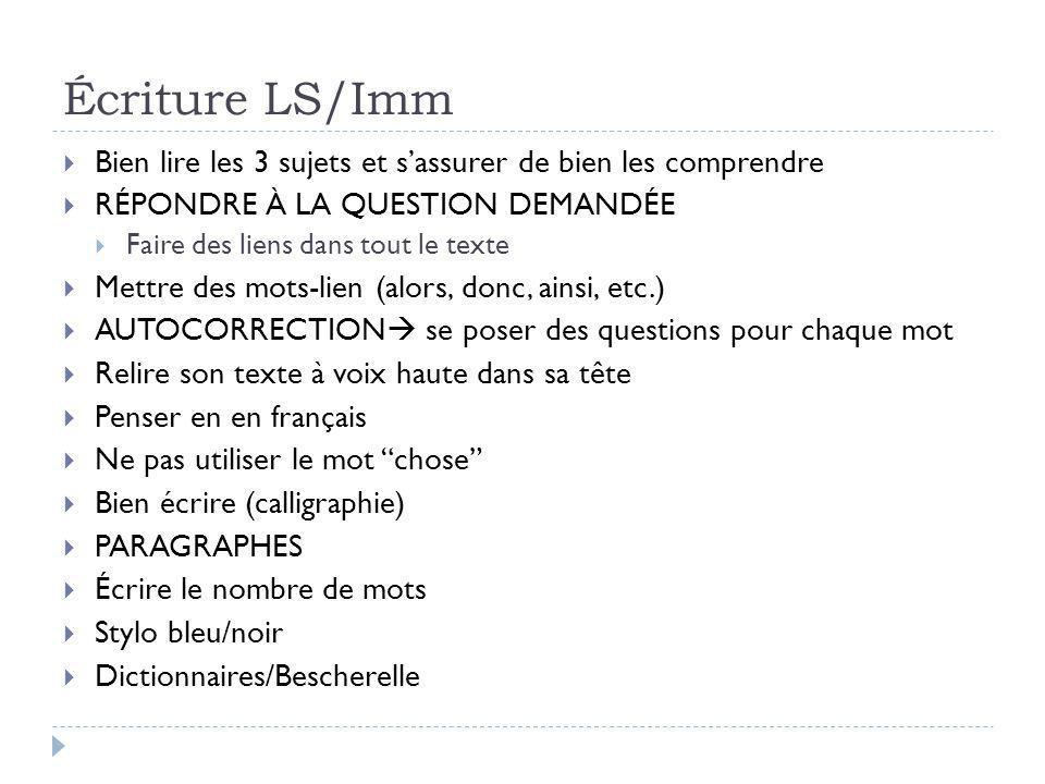 Lecture immersion  3 heures  Dictionnaires  Mêmes conseils que pour l'examen de lecture LS