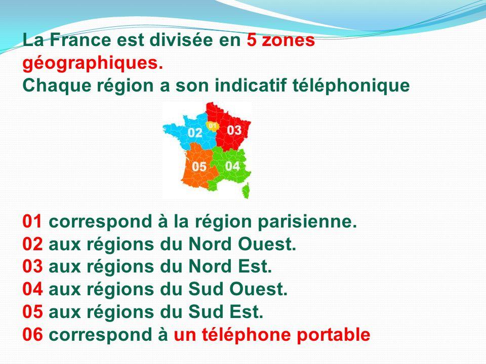 La France est divisée en 5 zones géographiques. Chaque région a son indicatif téléphonique 01 correspond à la région parisienne. 02 aux régions du Nor
