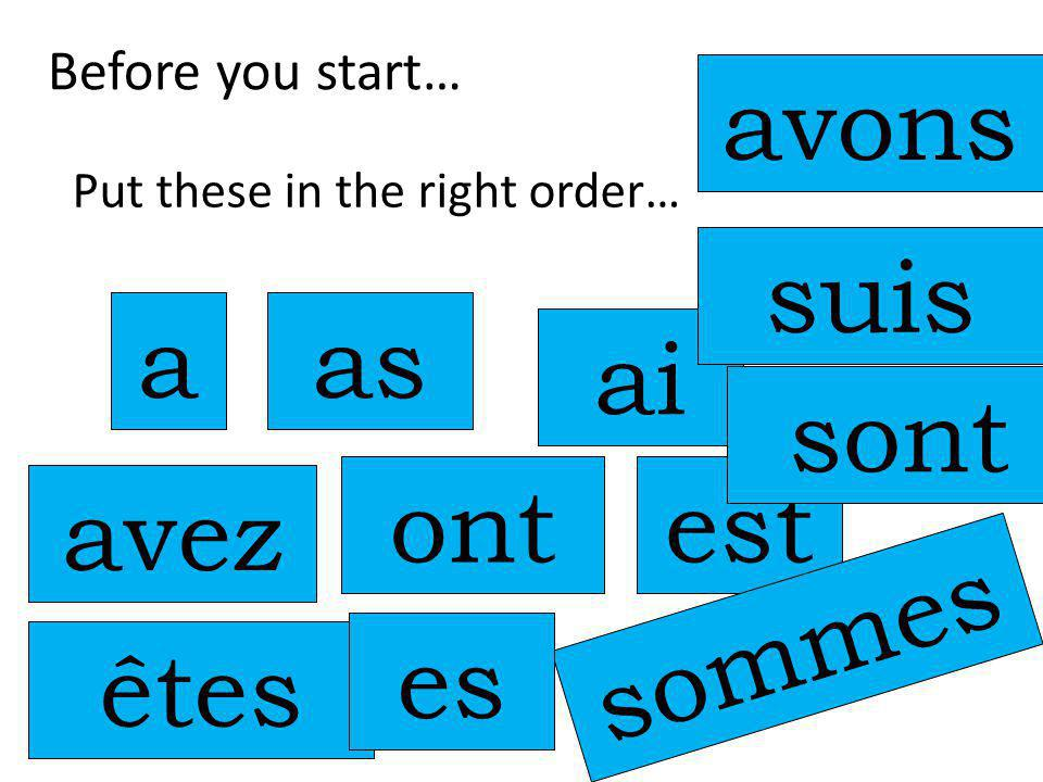 Before you start… Put these in the right order… a avez as ont ai avons est sommes êtes suis sont es