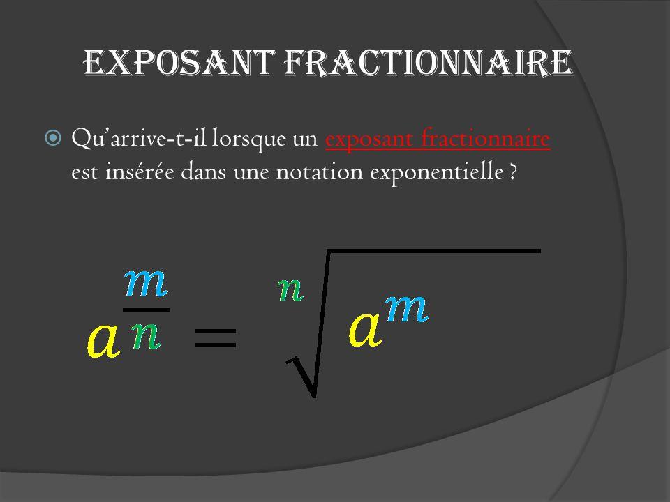 Exposant fractionnaire  Qu'arrive-t-il lorsque un exposant fractionnaire est insérée dans une notation exponentielle ?