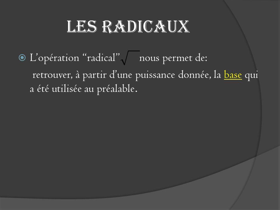 """Les radicaux  L'opération """"radical"""" nous permet de: retrouver, à partir d'une puissance donnée, la base qui a été utilisée au préalable."""