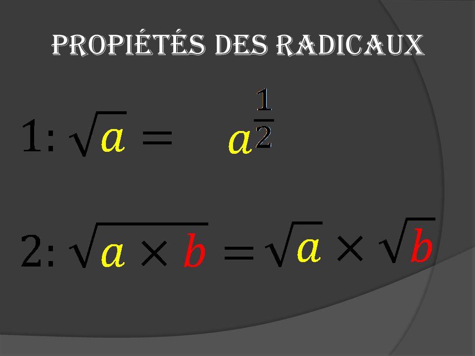 Propiétés des radicaux