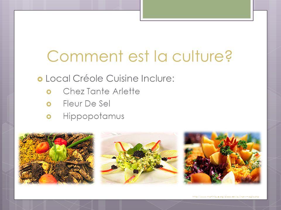 Comment est la culture?  Local Créole Cuisine Inclure:  Chez Tante Arlette  Fleur De Sel  Hippopotamus http://www.martinique.org/discovery/culinar