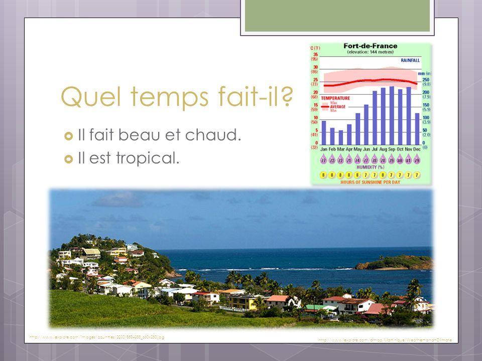 Quel temps fait-il?  Il fait beau et chaud.  Il est tropical. http://www.iexplore.com/dmap/Martinique/Weather+and+Climate http://www.iexplore.com/im