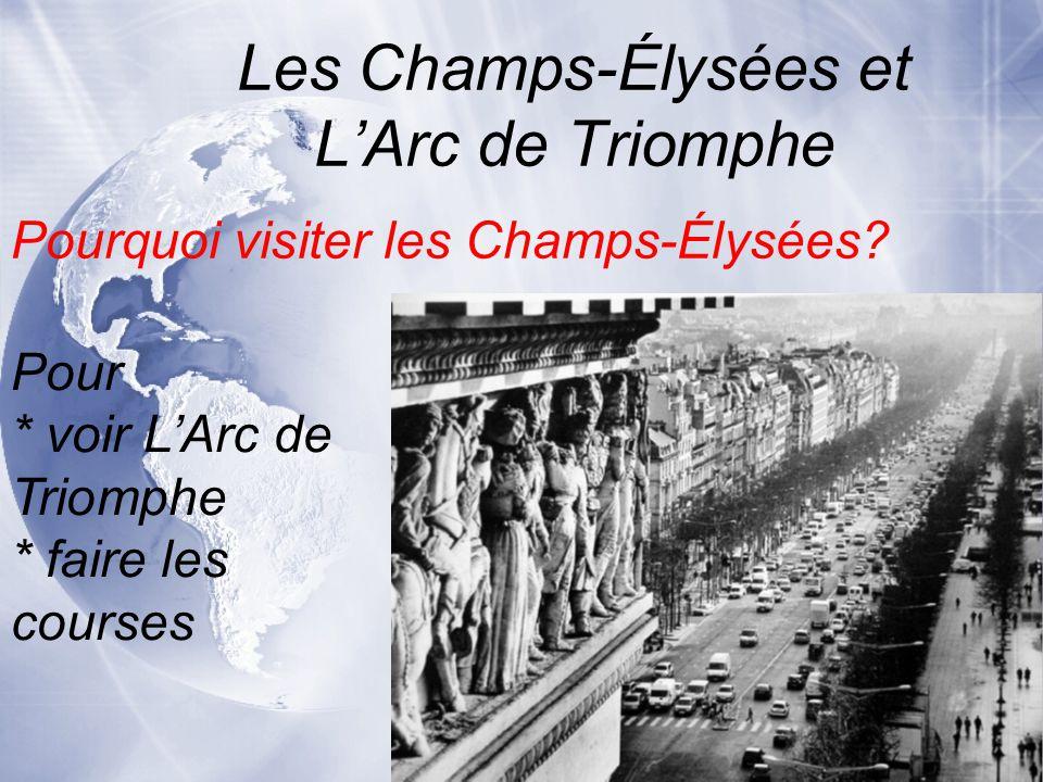 Pour * voir L'Arc de Triomphe * faire les courses Les Champs-Élysées et L'Arc de Triomphe Pourquoi visiter les Champs-Élysées?