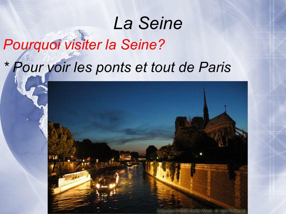 La Seine * Pour voir les ponts et tout de Paris Pourquoi visiter la Seine