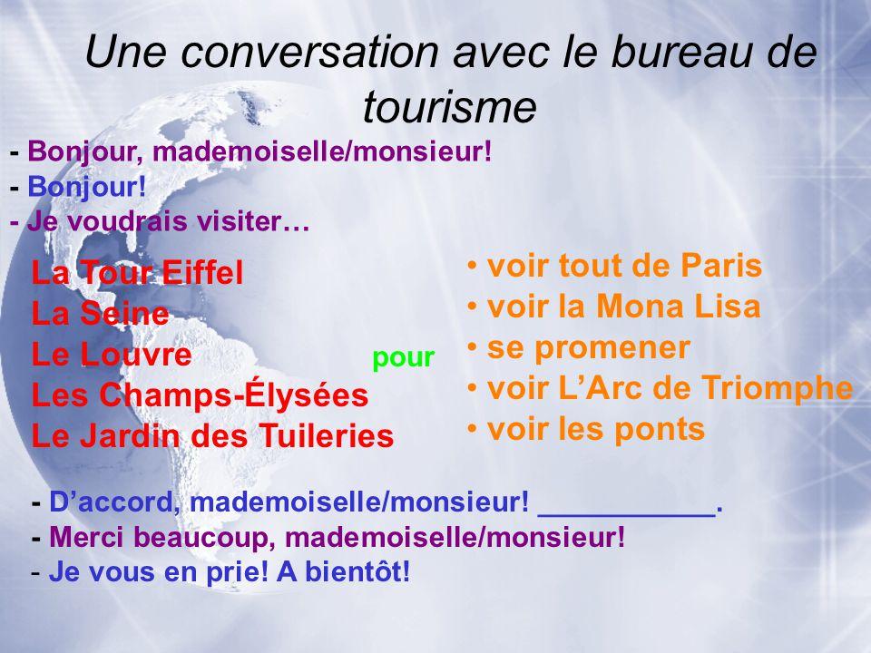 Une conversation avec le bureau de tourisme - Bonjour, mademoiselle/monsieur! - Bonjour! - Je voudrais visiter… La Tour Eiffel La Seine Le Louvre Les
