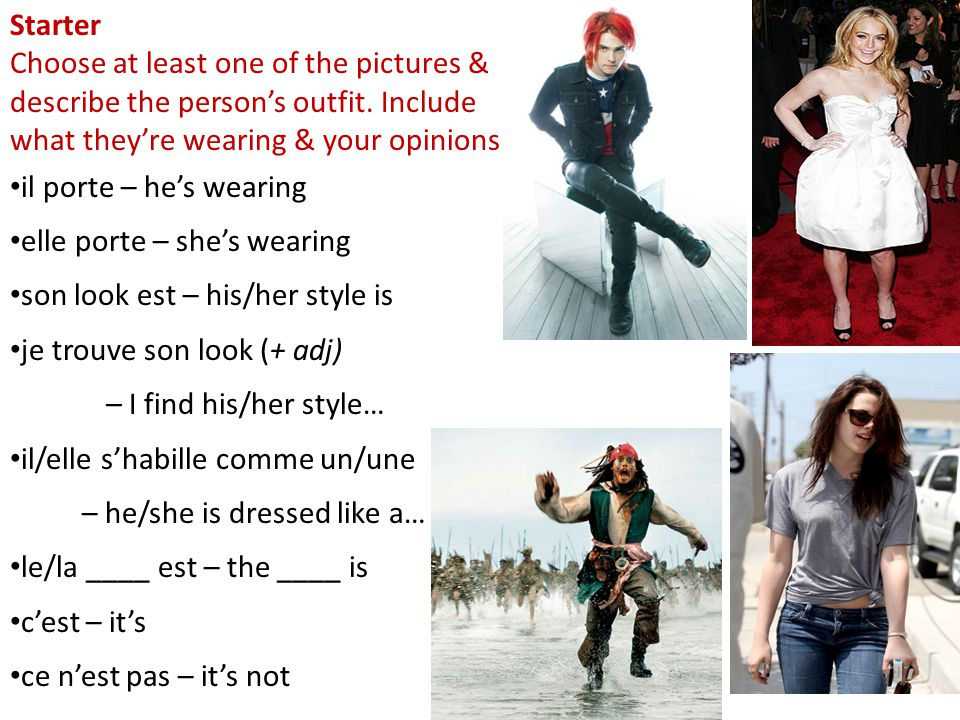 Starter Choose at least one of the pictures & describe the person's outfit.