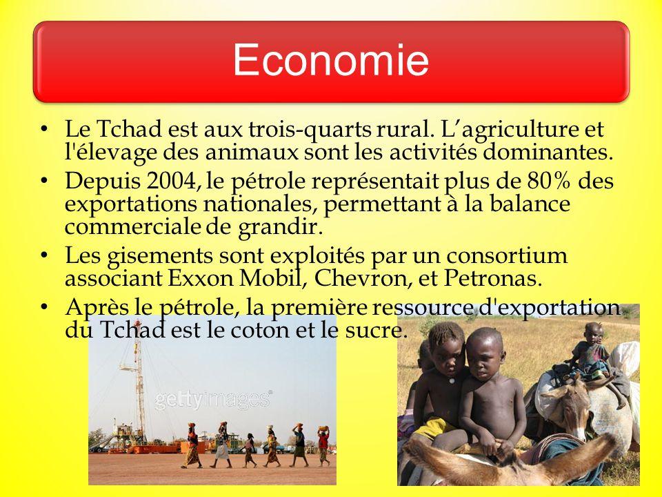 Economie Le Tchad est aux trois-quarts rural. L'agriculture et l'élevage des animaux sont les activités dominantes. Depuis 2004, le pétrole représenta