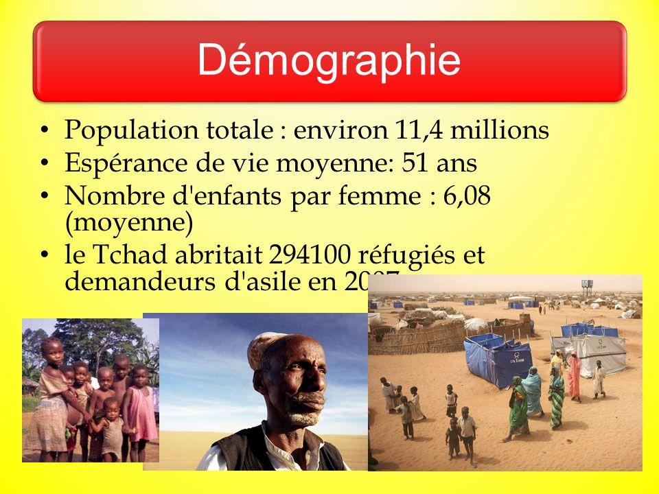 Démographie Population totale : environ 11,4 millions Espérance de vie moyenne: 51 ans Nombre d'enfants par femme : 6,08 (moyenne) le Tchad abritait 2