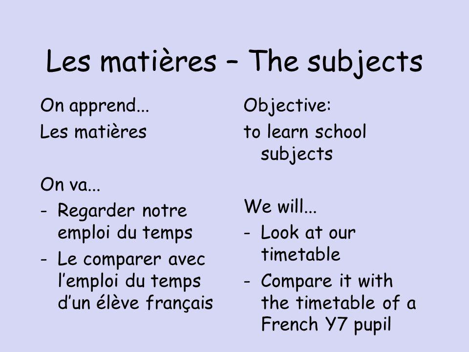 Les matières – The subjects On apprend...Les matières On va...