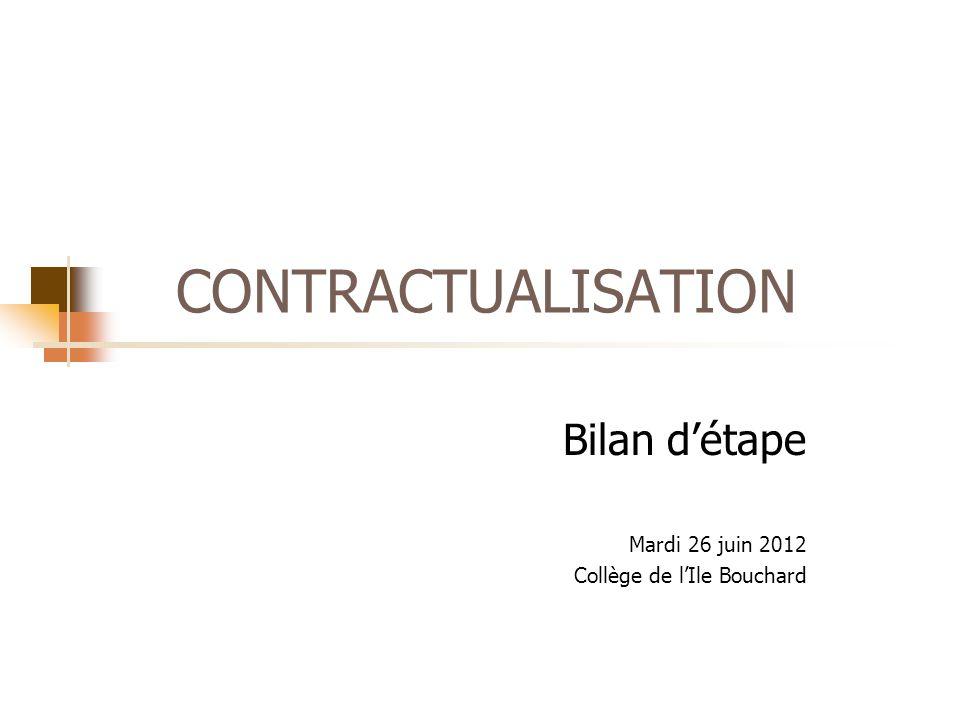 CONTRACTUALISATION Bilan d'étape Mardi 26 juin 2012 Collège de l'Ile Bouchard