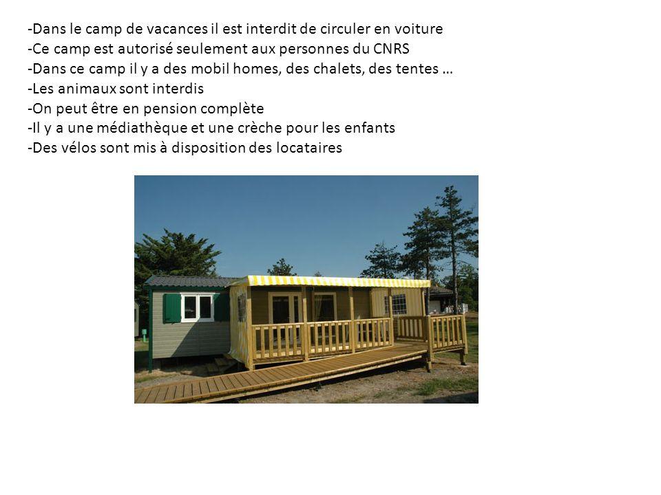 -Dans le camp de vacances il est interdit de circuler en voiture -Ce camp est autorisé seulement aux personnes du CNRS -Dans ce camp il y a des mobil
