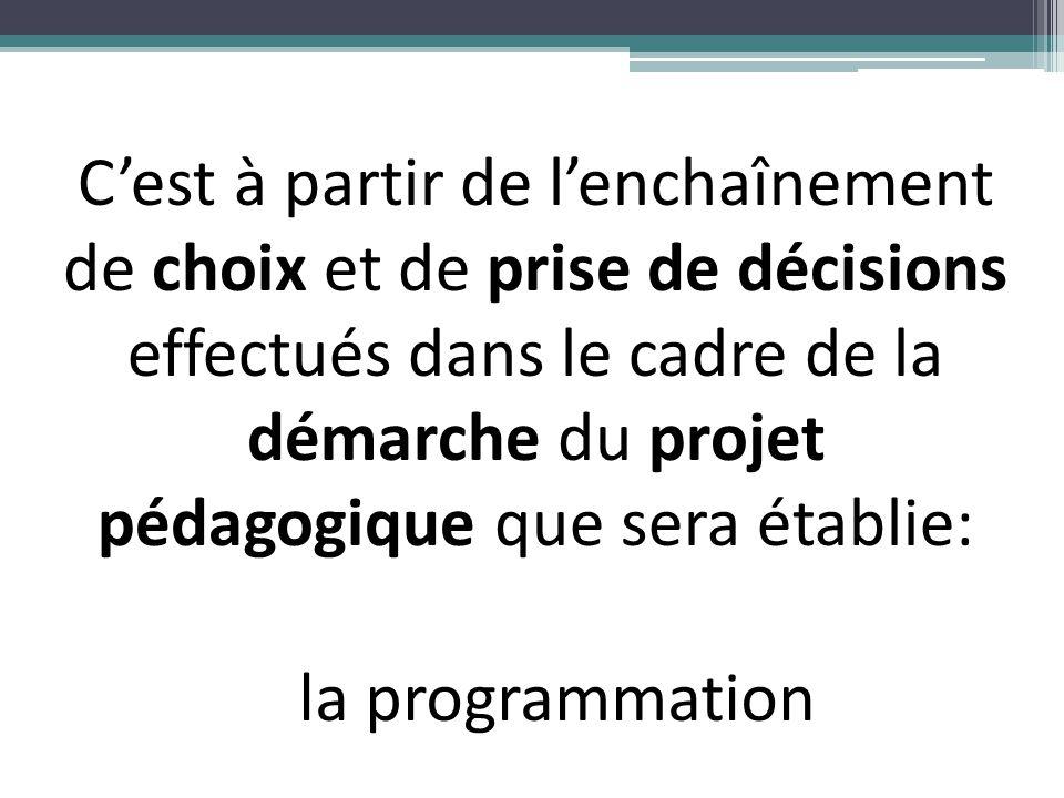 C'est à partir de l'enchaînement de choix et de prise de décisions effectués dans le cadre de la démarche du projet pédagogique que sera établie: la p