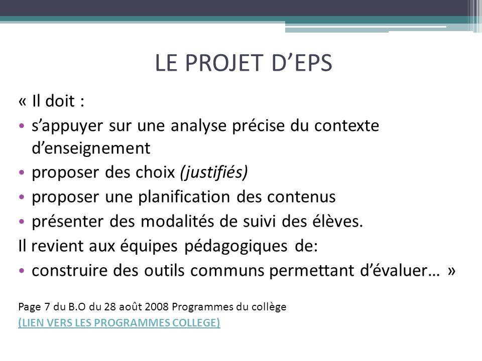 LE PROJET D'EPS « Il doit : s'appuyer sur une analyse précise du contexte d'enseignement proposer des choix (justifiés) proposer une planification des contenus présenter des modalités de suivi des élèves.