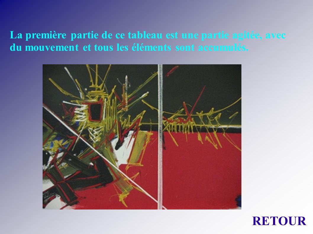 La première partie de ce tableau est une partie agitée, avec du mouvement et tous les éléments sont accumulés.