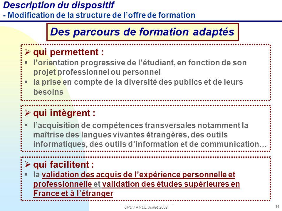 CPU / AMUE Juillet 2002 14  qui intègrent :  l'acquisition de compétences transversales notamment la maîtrise des langues vivantes étrangères, des o