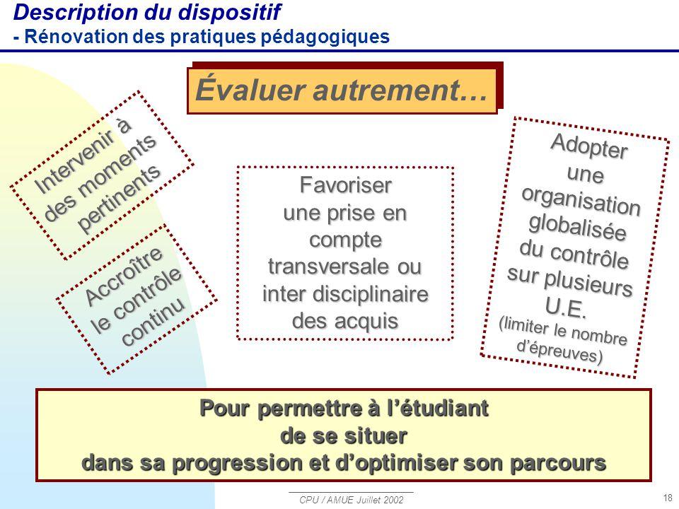 CPU / AMUE Juillet 2002 18 Adopter une organisation globalisée du contrôle sur plusieurs U.E. (limiter le nombre d'épreuves) Accroître le contrôle con
