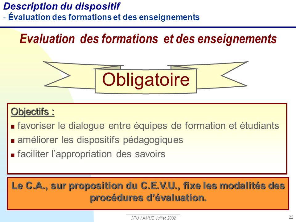 CPU / AMUE Juillet 2002 22 Description du dispositif - Évaluation des formations et des enseignements Evaluation des formations et des enseignements O