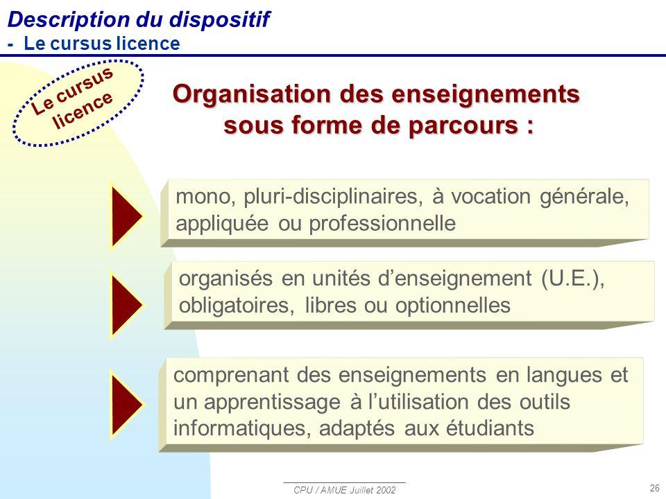 CPU / AMUE Juillet 2002 26 mono, pluri-disciplinaires, à vocation générale, appliquée ou professionnelle organisés en unités d'enseignement (U.E.), ob