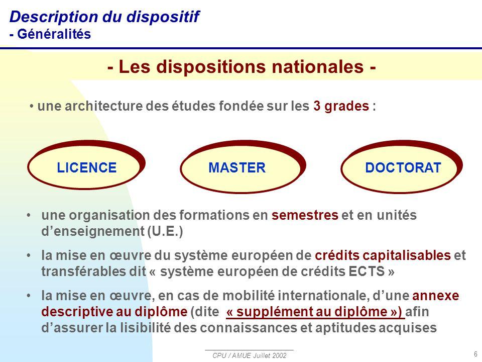 CPU / AMUE Juillet 2002 6 une organisation des formations en semestres et en unités d'enseignement (U.E.) la mise en œuvre du système européen de créd