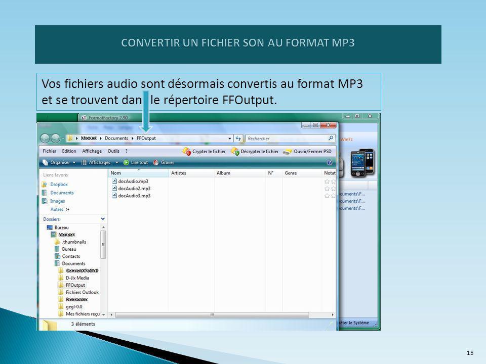 Vos fichiers audio sont désormais convertis au format MP3 et se trouvent dans le répertoire FFOutput.