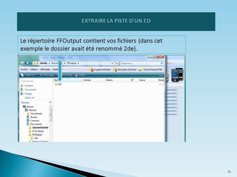 Le répertoire FFOutput contient vos fichiers (dans cet exemple le dossier avait été renommé 2de).