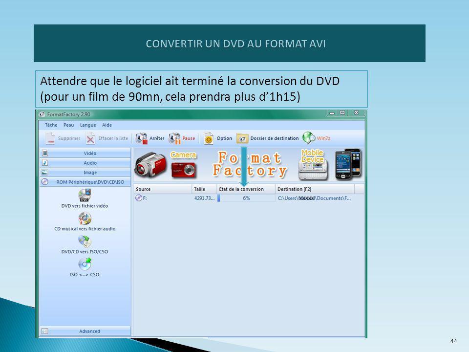 Attendre que le logiciel ait terminé la conversion du DVD (pour un film de 90mn, cela prendra plus d'1h15) 44