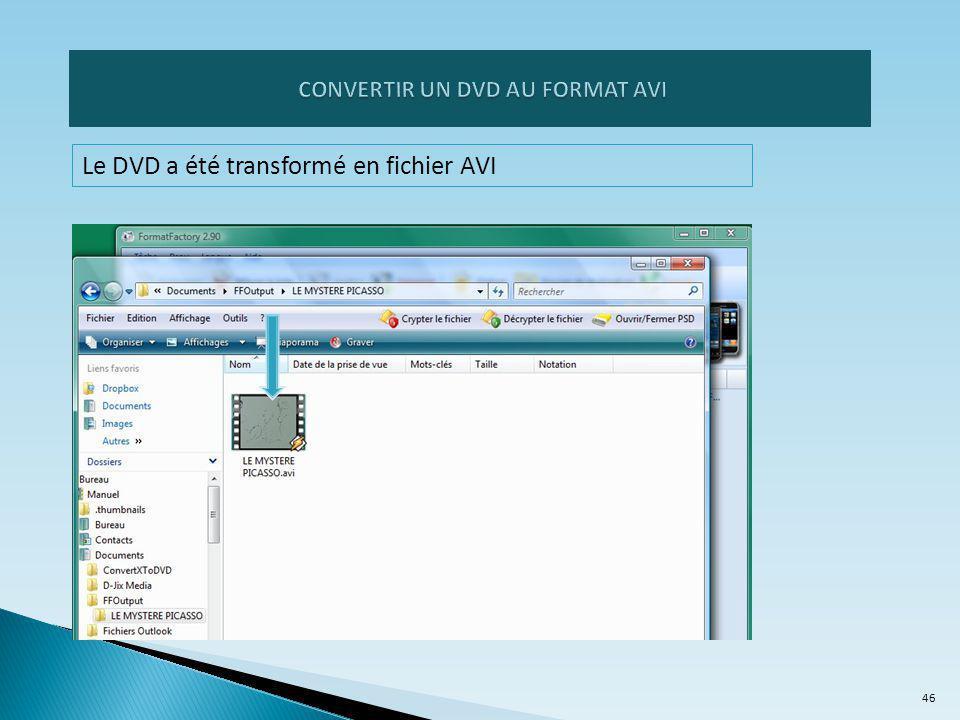 Le DVD a été transformé en fichier AVI 46