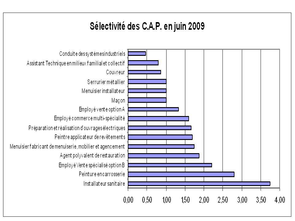 En BEP CSS 100 places pour 288 premiers vœux Taux de pression 2,3 (le plus élevé de l'académie)